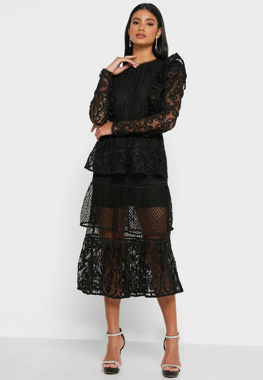 Puff Sleeve Lace Detail Dress