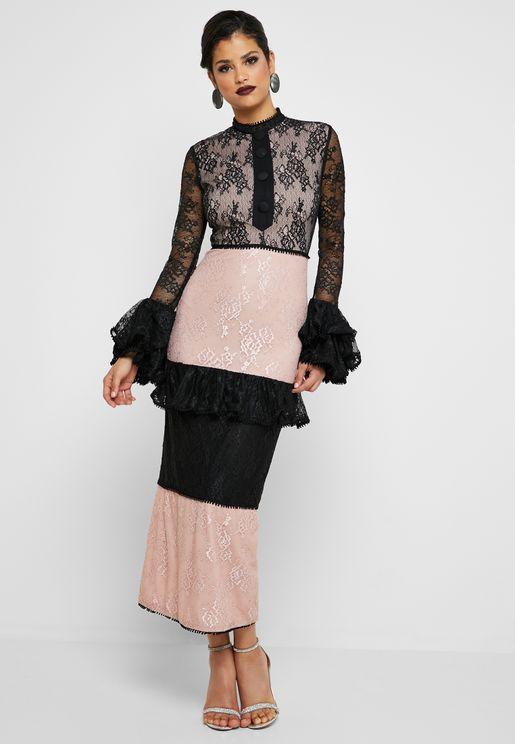 Colorblock Lace Maxi Dress