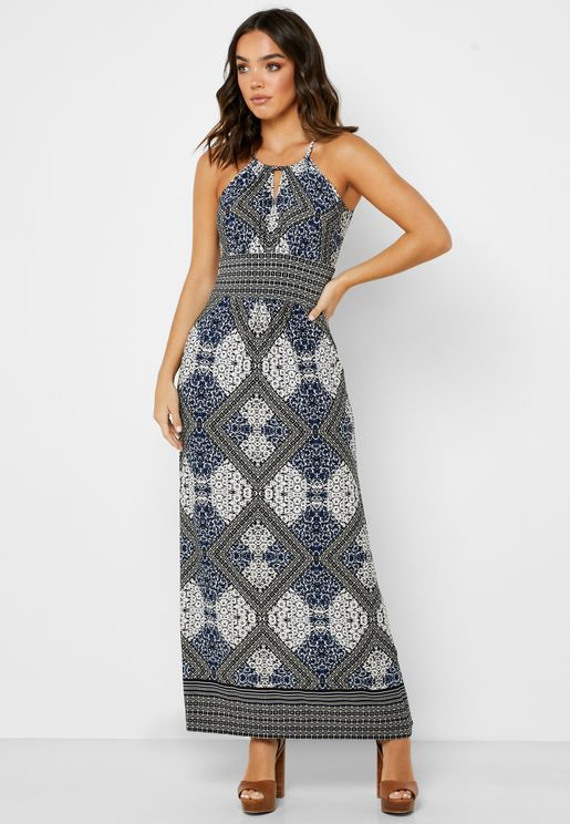 Round Neck Chevron Print Dress