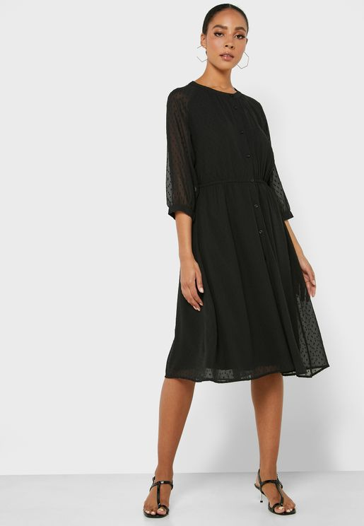 Button Through Mesh Detail Dress