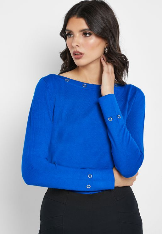 Broad Neck Detail Sweater