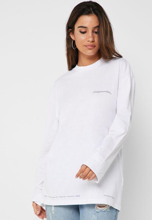 Crew Neck Long Sleeve Logo T-Shirt
