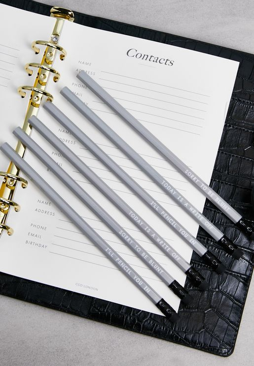 Set Of 6 Write To The Point Pencils