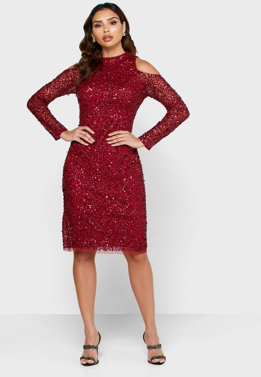Cut Out Shoulder Sequin Dress