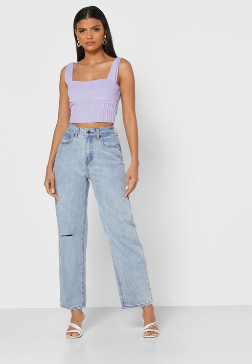 High Waist Straight Ripped Jeans