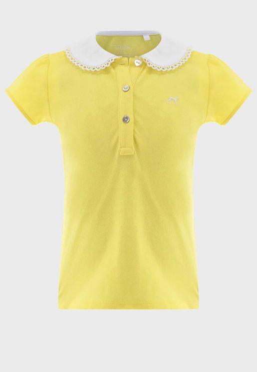 Kids Ruffle Collar Polo