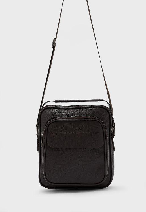 Front Zip Detail Messenger Bag
