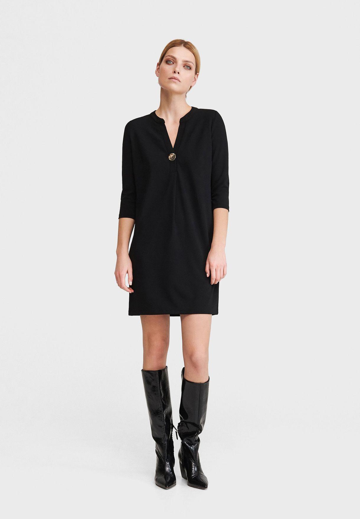 Notch Neck Shift Dress