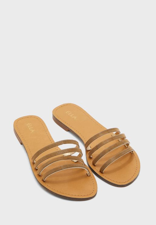 Strappy Sandals In Metallic