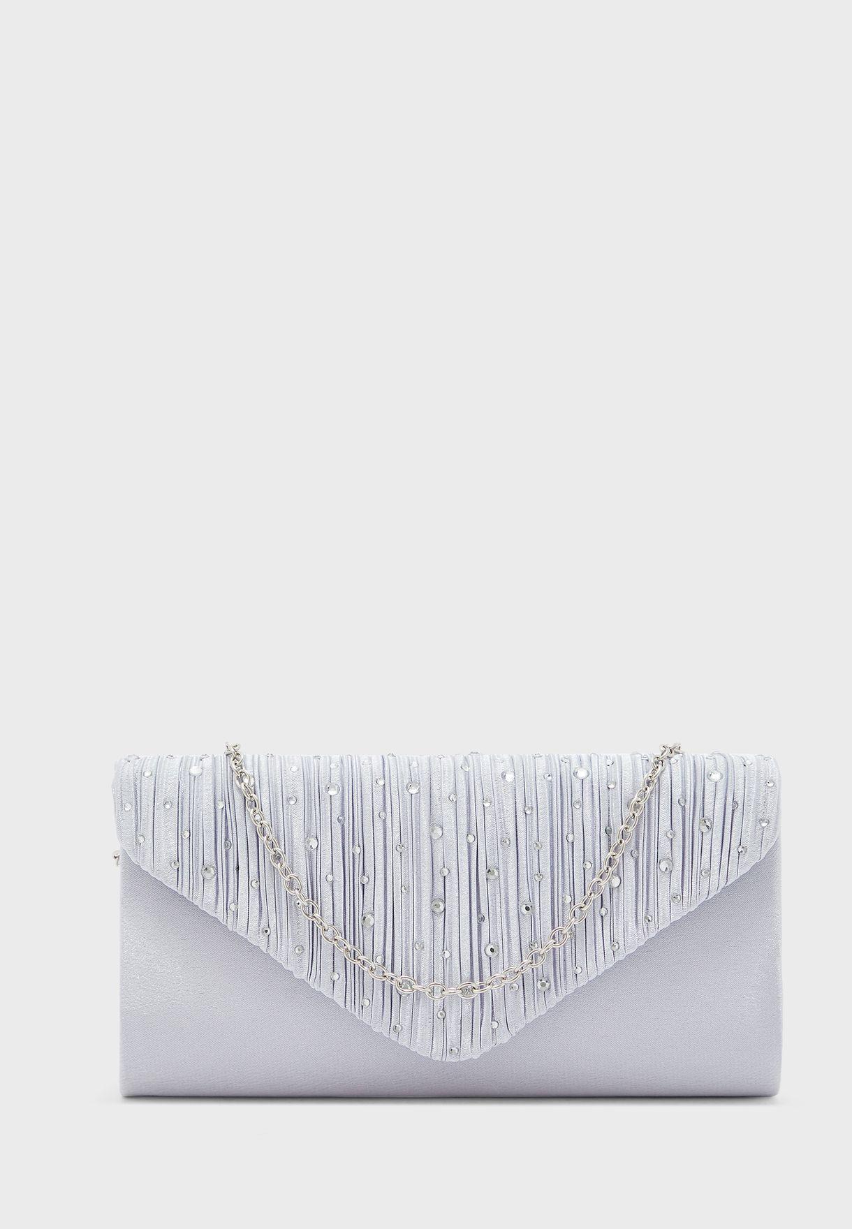Satin  Diamante Stones Clutch Bag