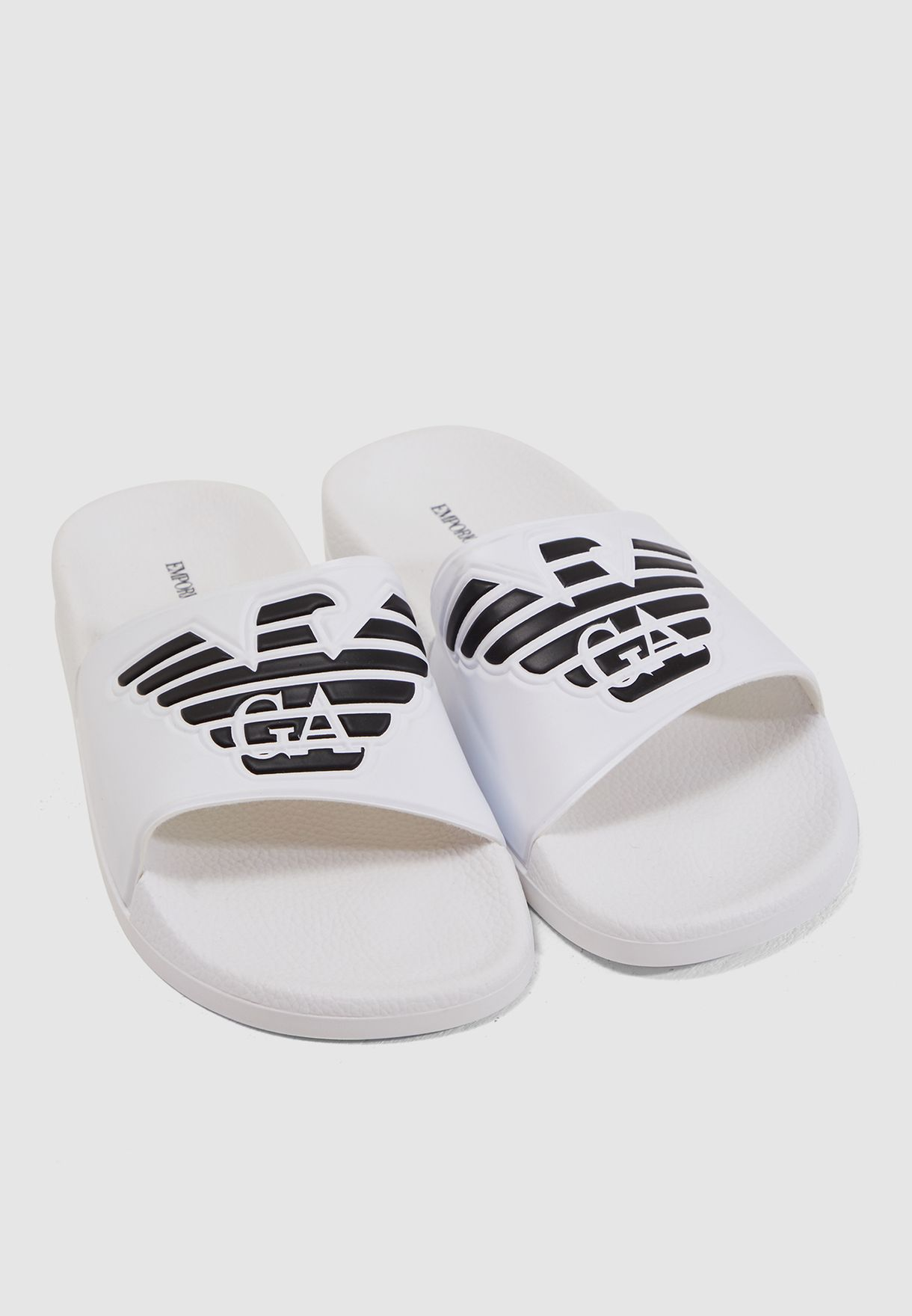 9842510ec8e756 Shop Emporio Armani white Casual Flip Flops X4PS01 XL828 00001 for ...