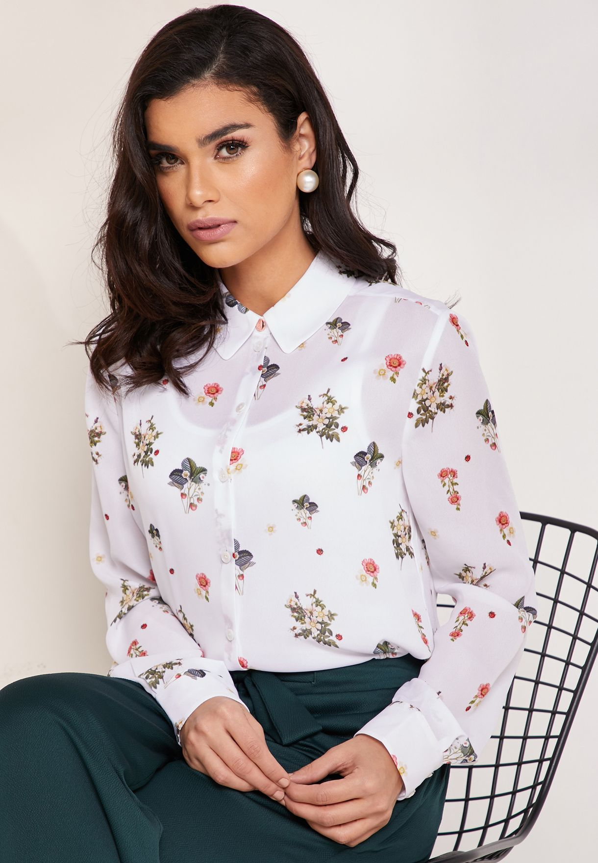 07ee33b26 Shop Ted baker white Oracle Printed Shirt 154060 for Women in Saudi ...