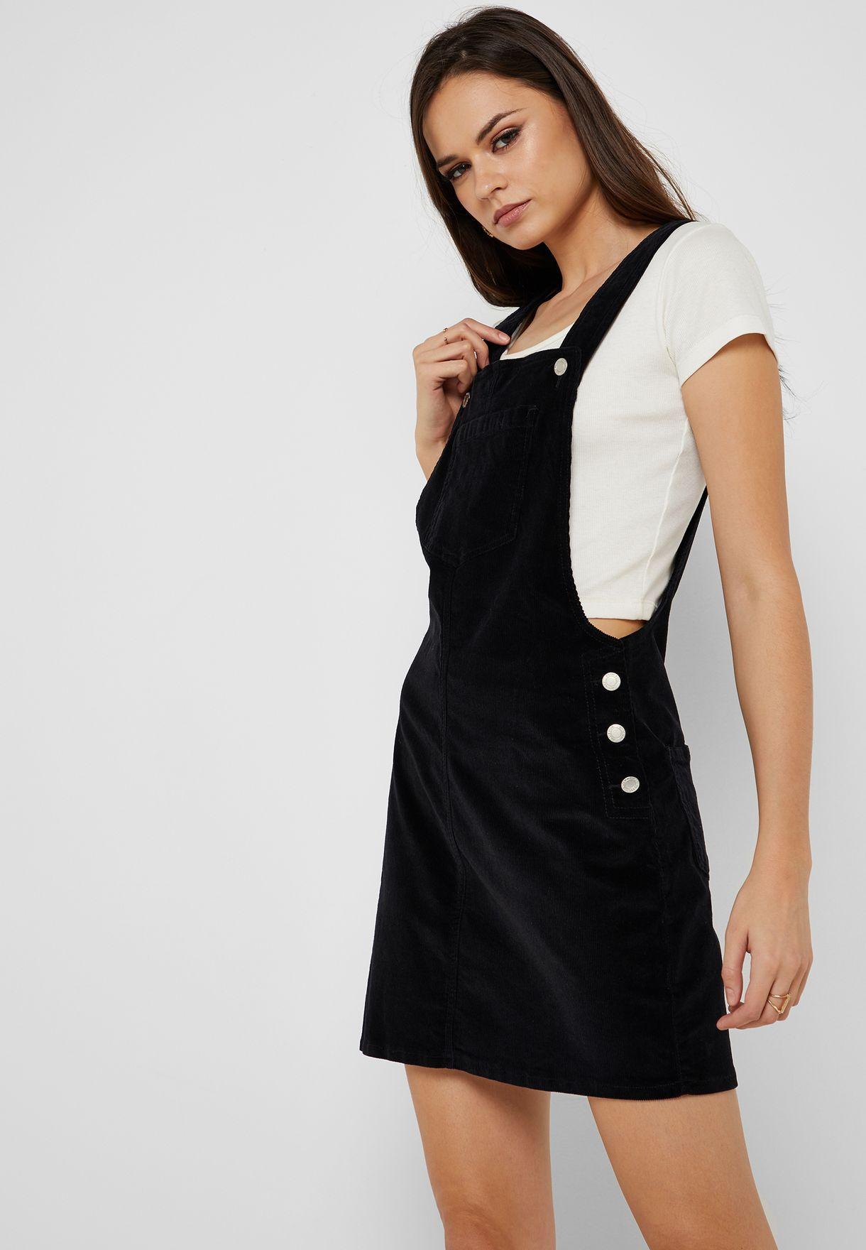 1f86a8e9687 Shop Ginger black Corduroy Dungaree Mini Dress LDRW-340ALEXABLA for ...