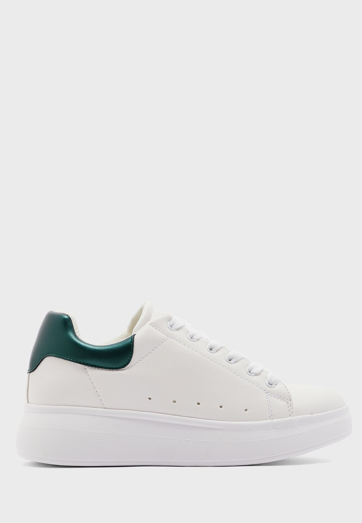 White With Green Detail Classic Sneaker