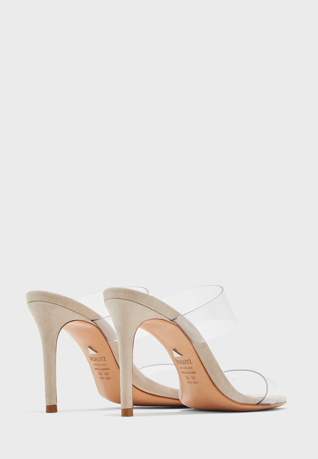 Sheer Strap Mid Heel Sandals