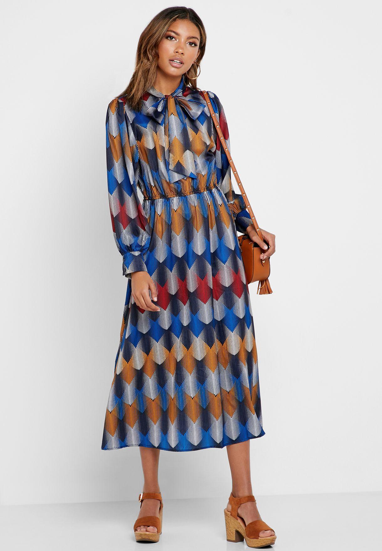 Abstract Print Tie Neck Midi Dress