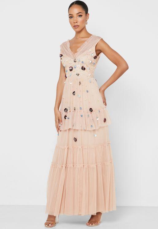 Embellished Detail Pleated Dress
