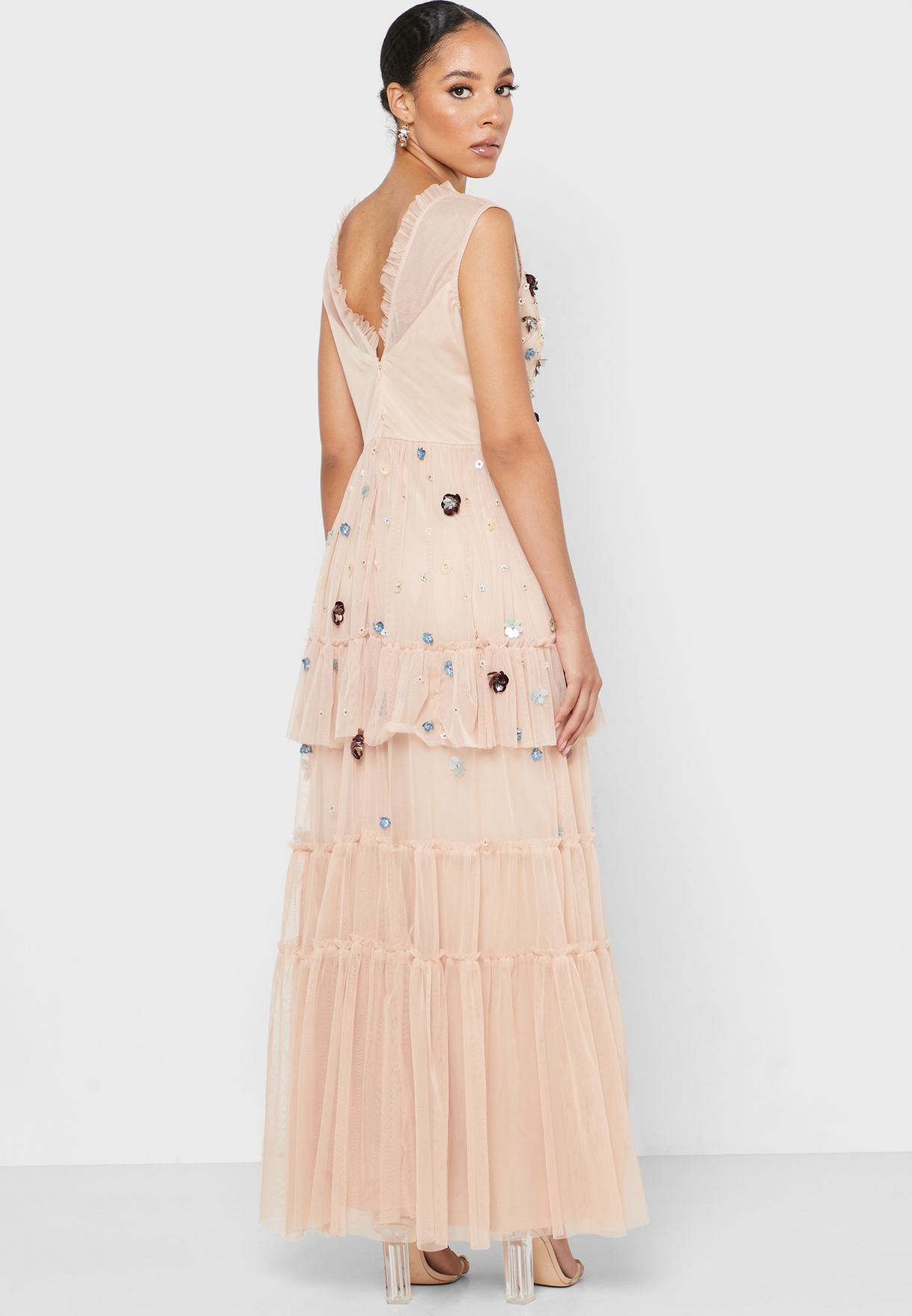 Embellished Detail Pleated Dress
