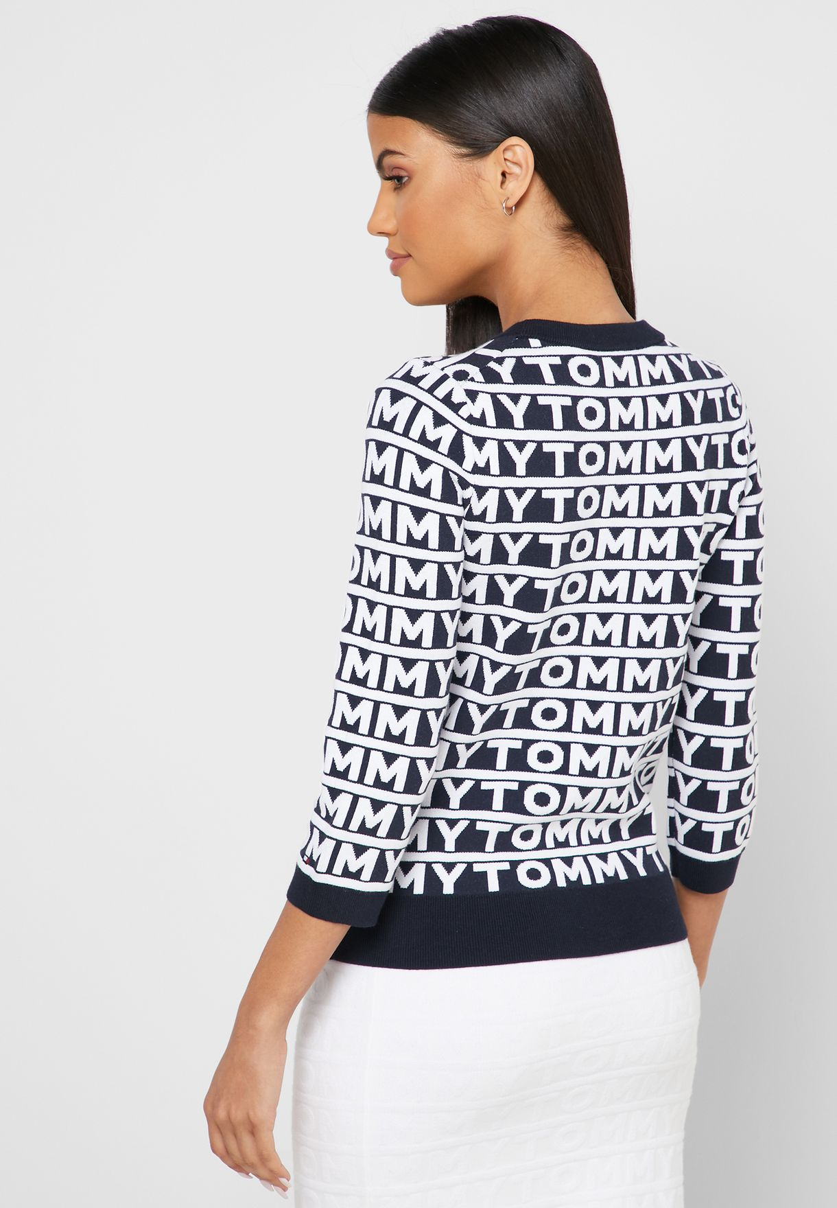 Contrast Trim Printed Sweater