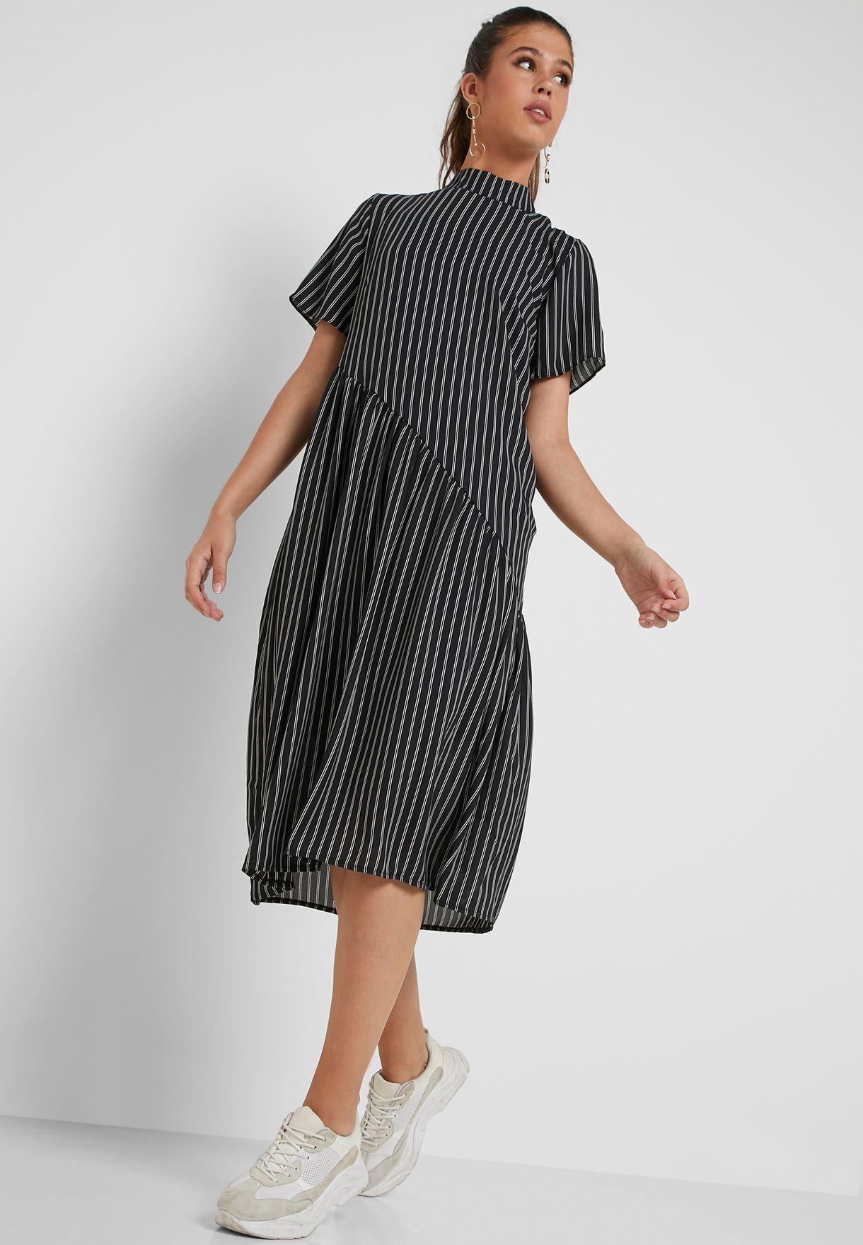 1be1bb48a287 Shop Lost Ink black Striped Asymmetric Dress 1.20112E+15 for Women ...