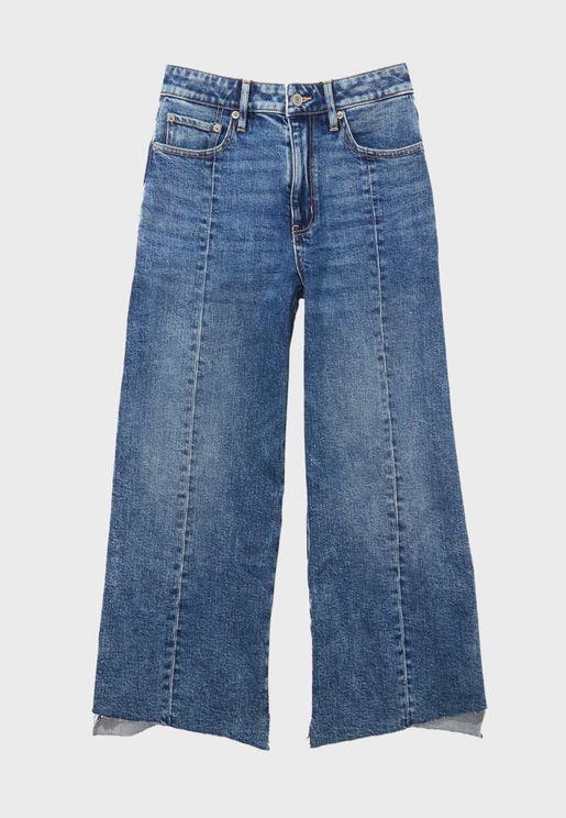 Seam Detail Wide Leg Jeans