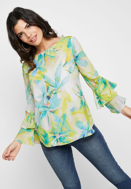Tiered Sleeve Printed Top