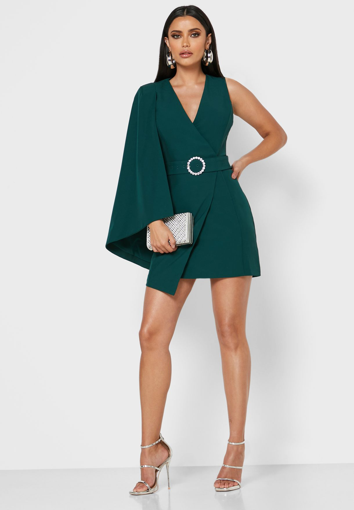 Cape Sleeve Belted Wrap Dress
