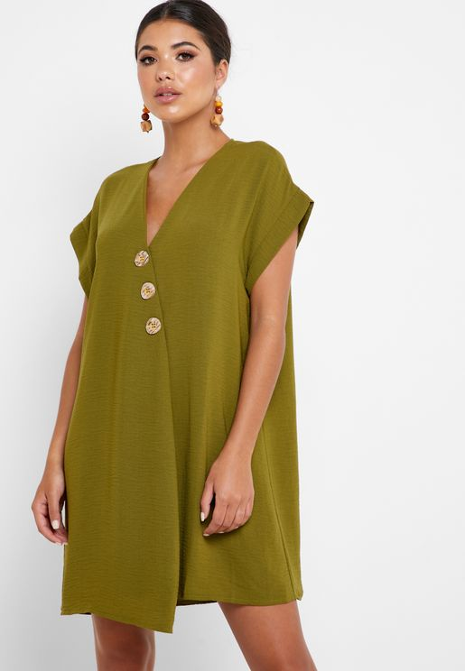 Front Split Button Detail Dress
