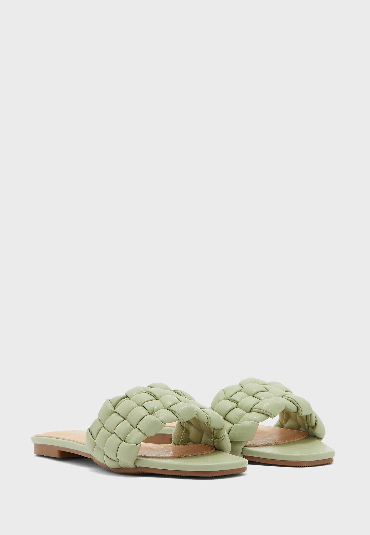 Oversized Lattice Flat Sandal