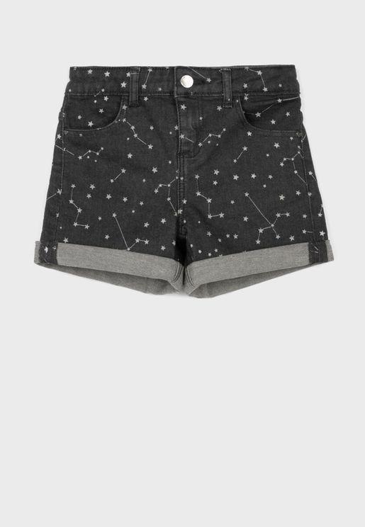 Kids Star Print Denim Shorts