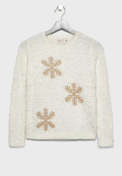 Kids Glitter Fluffy Sweater