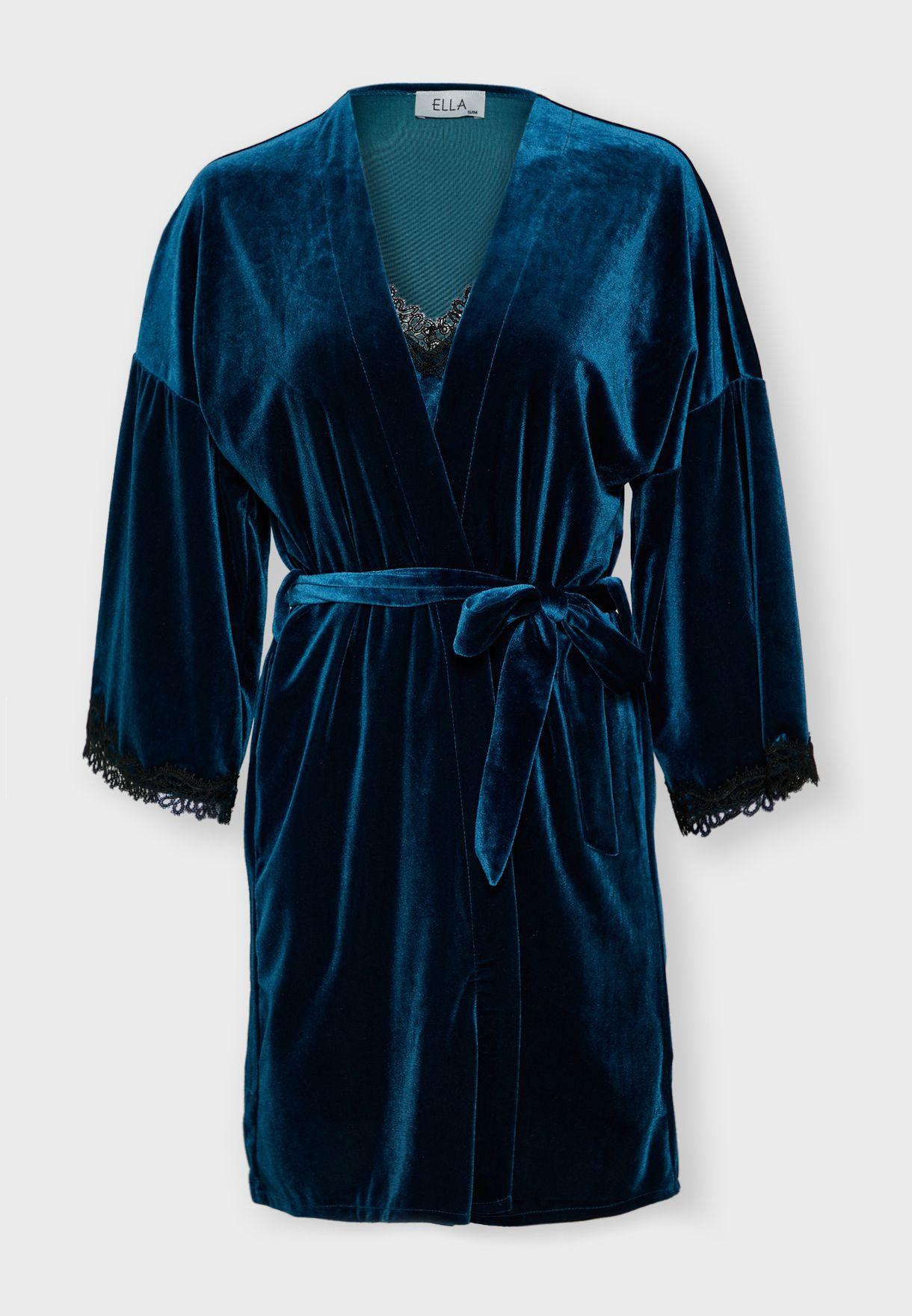 Velvet Lace Insert Robe