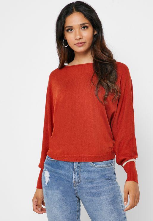 Ribbed Cuff Boat Neck Sweater