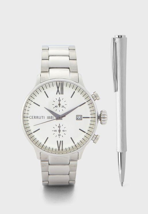 Steel Strap Analog Watch+Pen Set