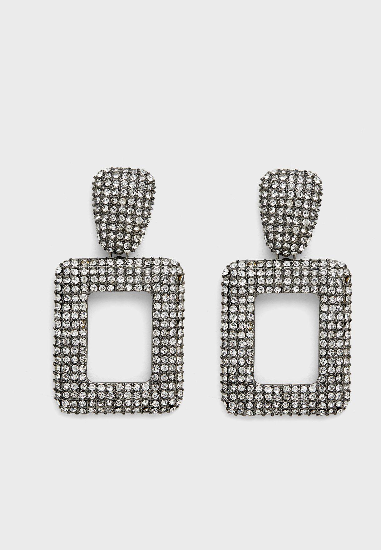 Square Drop Diamante Earring
