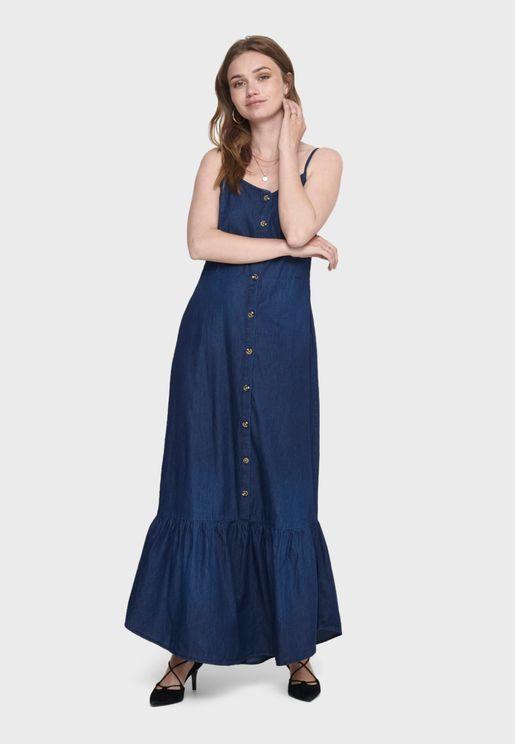 Ruffle Hem Button Detail Denim Dress