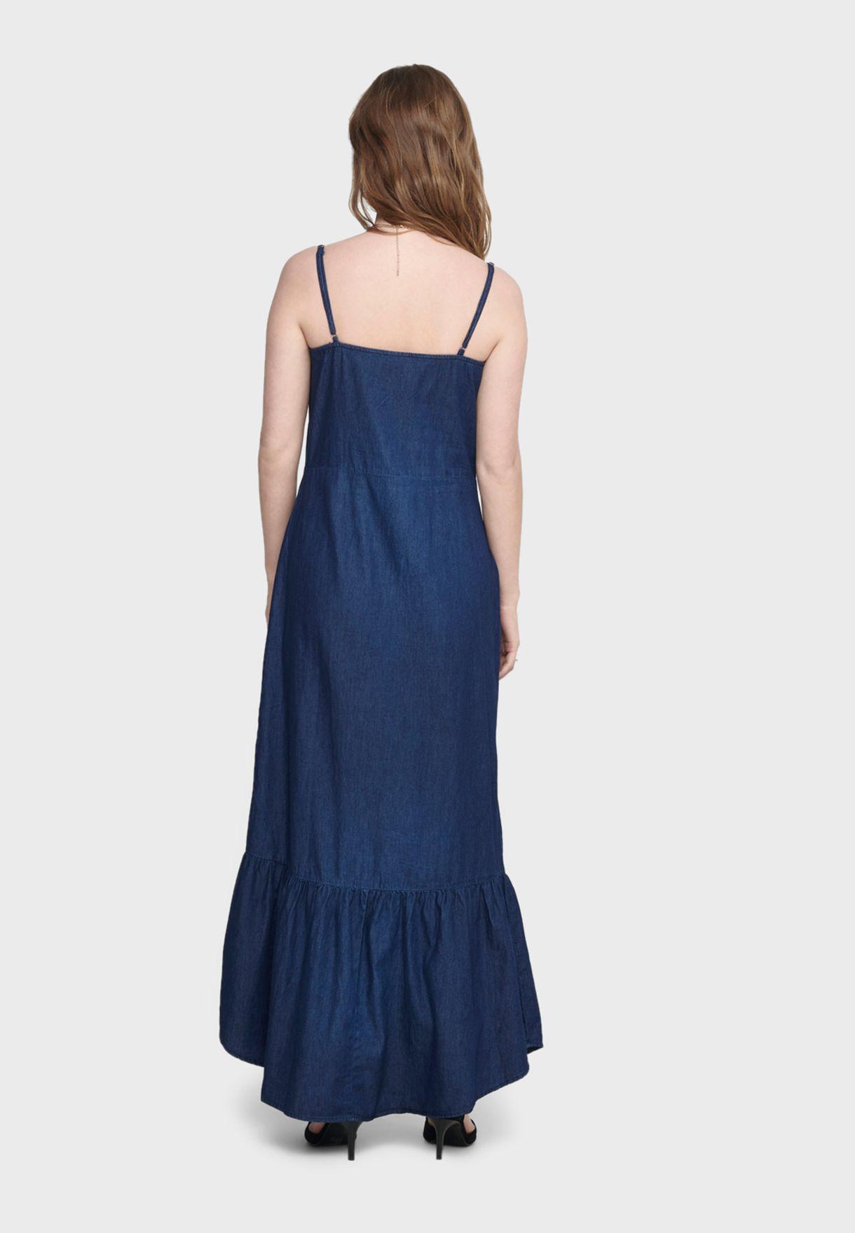 فستان جينز بحافة كشكش