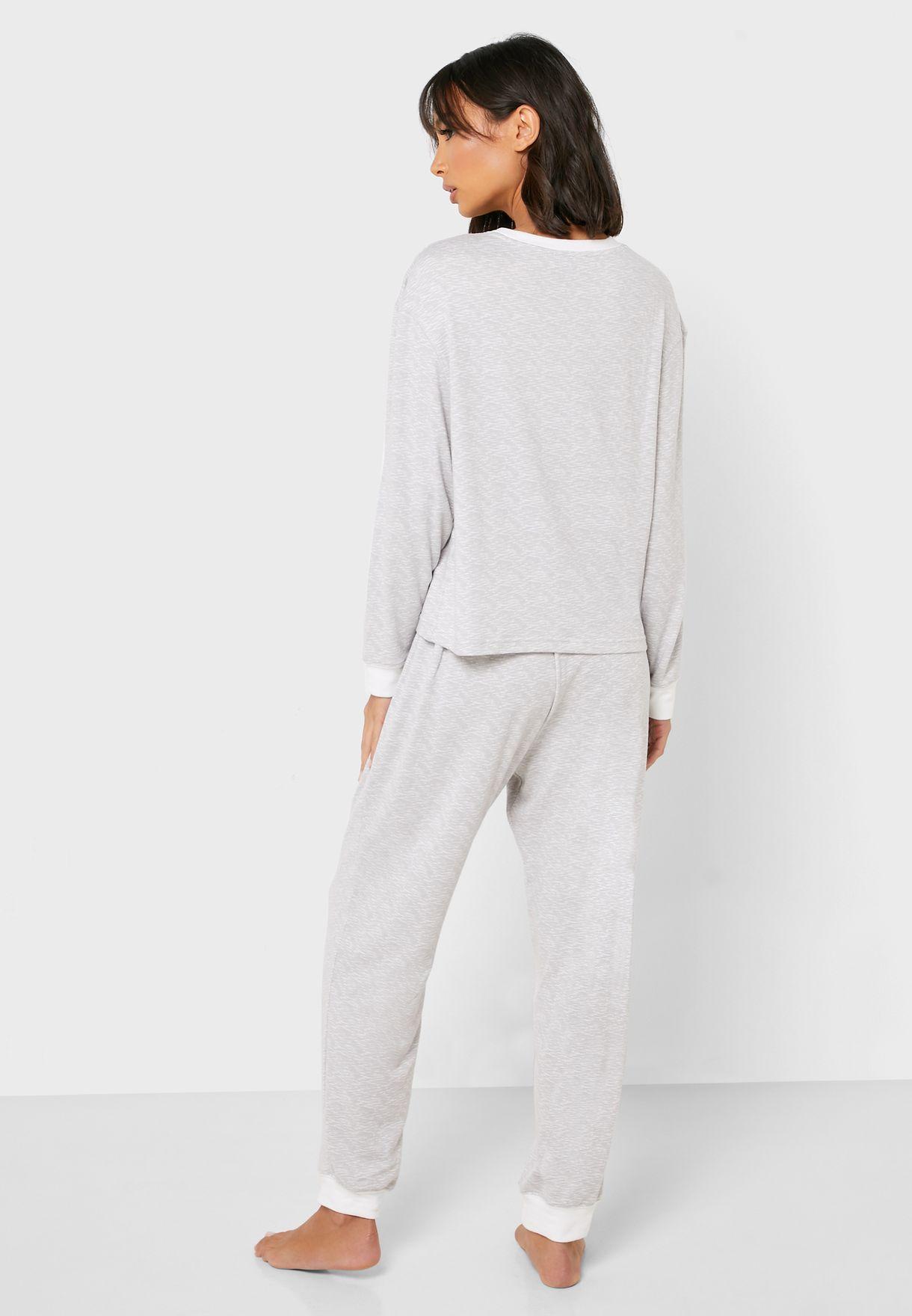 Contrast Detail T-Shirt & Pyjama Set