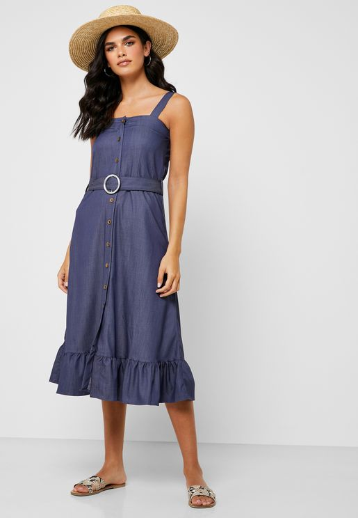 Button Down Belted Denim Midi Dress