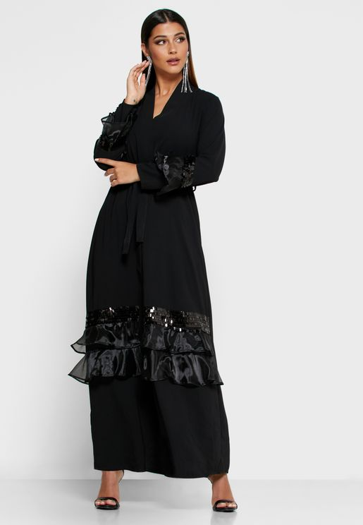 Sequin Ruffle Trim Self Tie Abaya