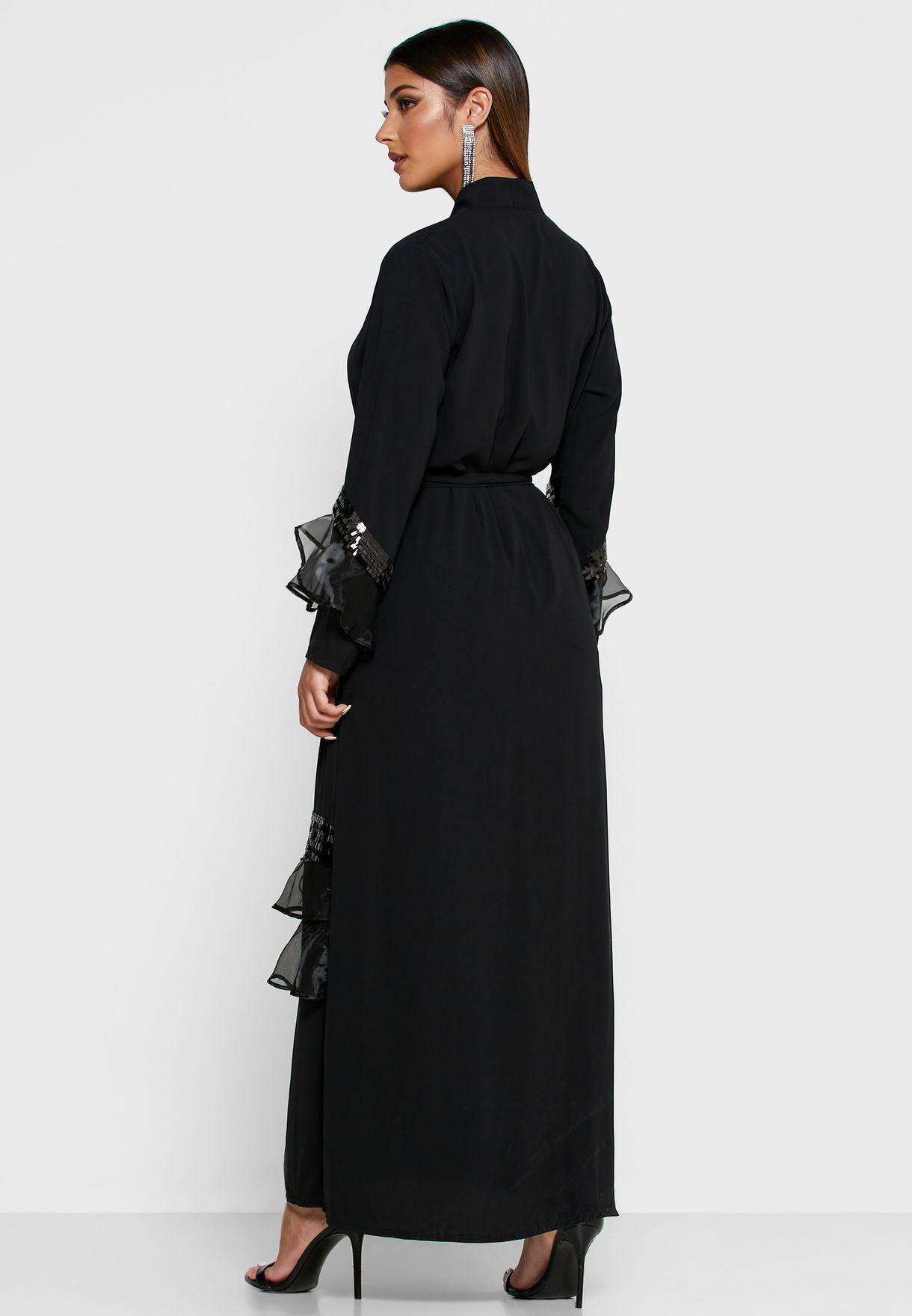Sequin Ruffle Trim Self Tie Abaya