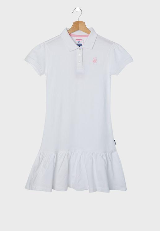 Kids Embroidered Logo Polo Dress
