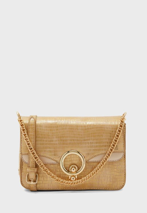 Flap Over Ring Detail Crossbody