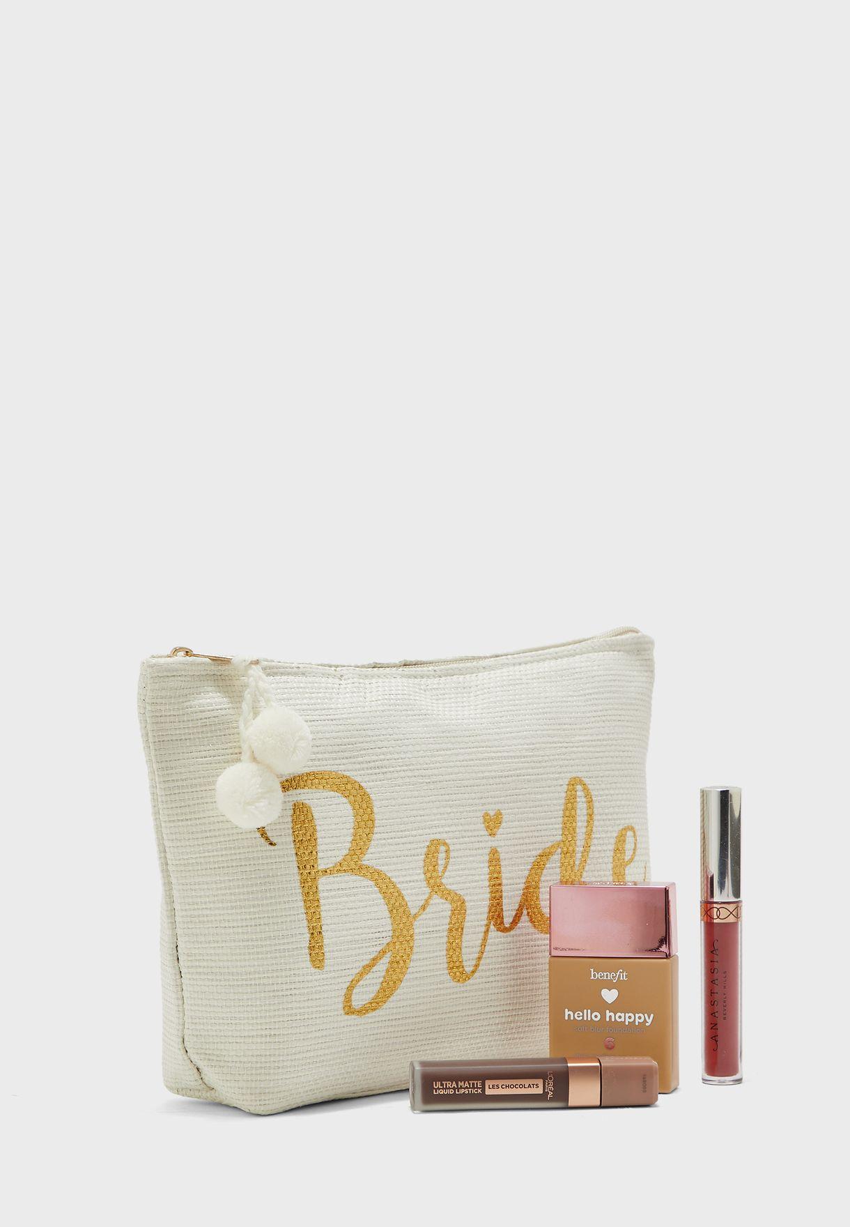 Bride Zip Detail Cosmetic Bag