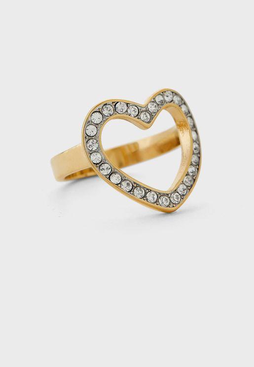 Crystal Heart Frame Ring