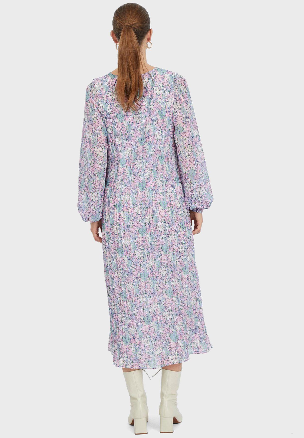 فستان مطبع مزين بكسرات