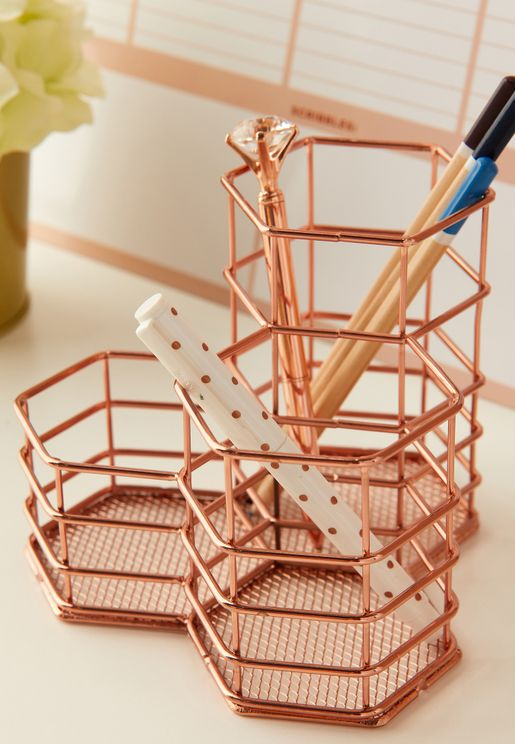 Rose Gold Wire Storage Organiser