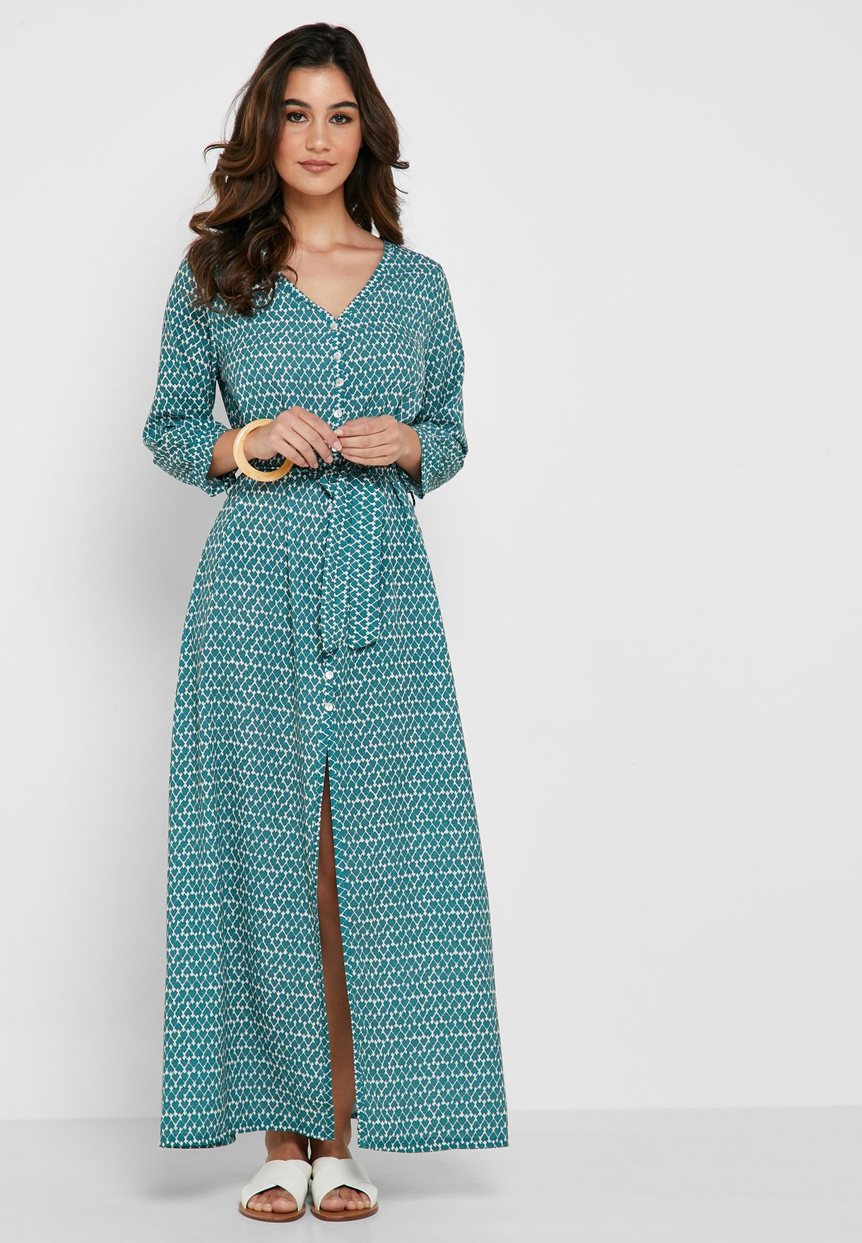Abstract Print Button Down Self Tie Maxi Dress