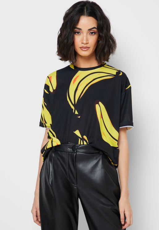 Banana Print Oversized T-Shirt