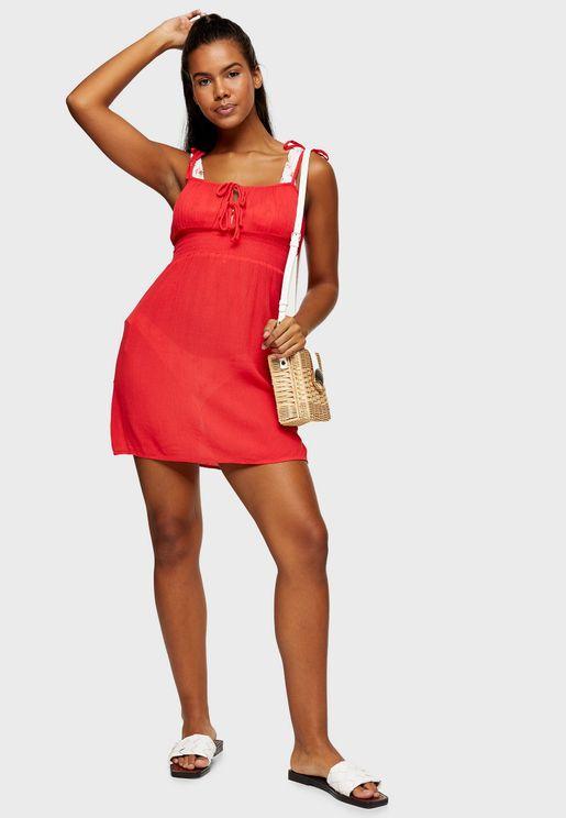 فستان باجزاء مزمومة